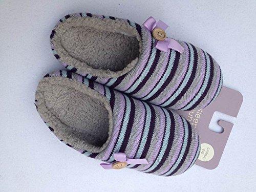 Inverno habuji dense e calde in maglia a strisce jacquard bow home pantofole Daban trascinare antiscivolo, M = 38/39, strisce come immagine