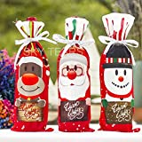 SKY TEARS 3Pcs Christmas Wine Set Red Wine Bottle Bag Christmas Table Wine Decoration Gift Covers Bags Santa Claus Snowman Elk