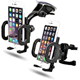 2-in-1 Mobile Phone Car Mount, Holder, Secure Phone/GPS to Windshield or Air Vent, Padded, Adjustable Grips, Fits Iphone 6 6+ 5 Galaxy S6 S5 Phones
