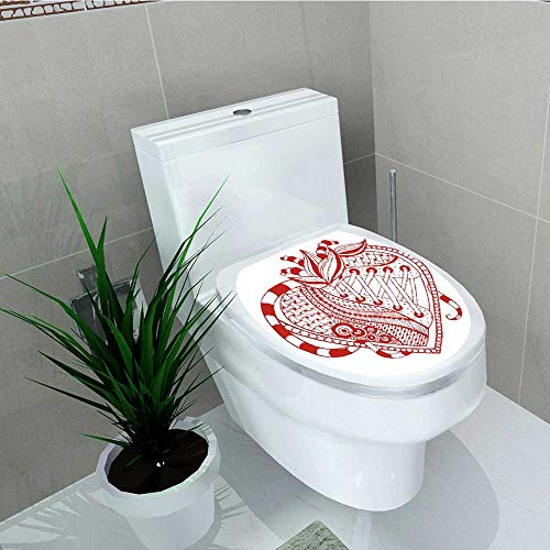 (Philip C. Williams Toilet Seat Wall Stickers Paper Heart with Ornamental Lines and Shoelaces Striped Bands Spirals Red White Decals DIY Decoration W11 x L13)