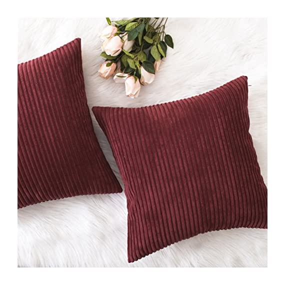 Home Brilliant 2 Packs Decorative Square Pillows Cover Outdoor Throw Pillows Cushion Covers for Chair, 16 x 16 inches, 40cm, Dark Red - FEATURES: Color: Burgundy. Measures: 16x16 inch (40x40cm), tailored for 16x16 inch insert. PACKAGE: include 2 pc cushion cover. No cushion insert. WASHING GUIDE: Machine Wash Cold Separately, Gently Cycle Only, No Bleach, Tumble Dry Low. - patio, outdoor-throw-pillows, outdoor-decor - 51DFkN%2BWkpL. SS570  -