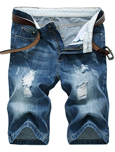IWOLLENCE Men's Fashion Ripped Distressed Straight Fit Denim Shorts with Hole Royal Blue-US 34 by IWOLLENCE