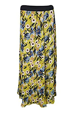 Womens Bohemian Skirt Gypsy Flowy Flower Printed Rayon Maxi Skirts Large (Yellow)