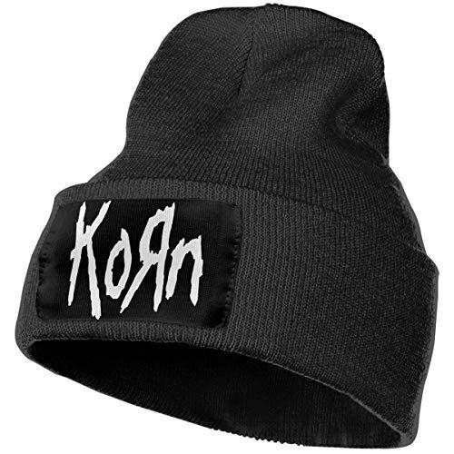 Hodenr Mens & Womens KORN LOGO Skull Beanie Hats Winter Knitted Caps Soft Warm Ski Hat Black ()