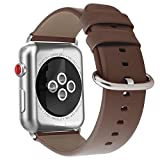 Youkex for Apple Watch Band 38mm, Genuine Leather Strap Replacement Wristband with Silver Stainless Steel Clasp for Apple Watch Series 3, Series 2, Series 1 Sport and Edition Women Men (Brown, 38mm)