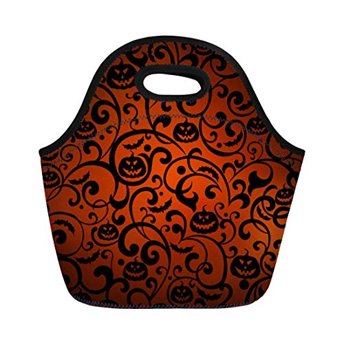 Semtomn Neoprene Lunch Tote Bag Orange Pattern Halloween Vintage Silhouette Bat Black Autumn Branch Reusable Cooler Bags Insulated Thermal Picnic Handbag for Travel,School,Outdoors,Work ()