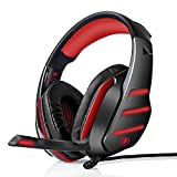 Xbox Gaming Headset , PS4 PC Gaming Headphones_ Stereo LED Light with Volume Control Noise Isolation Microphone (RedBlack)