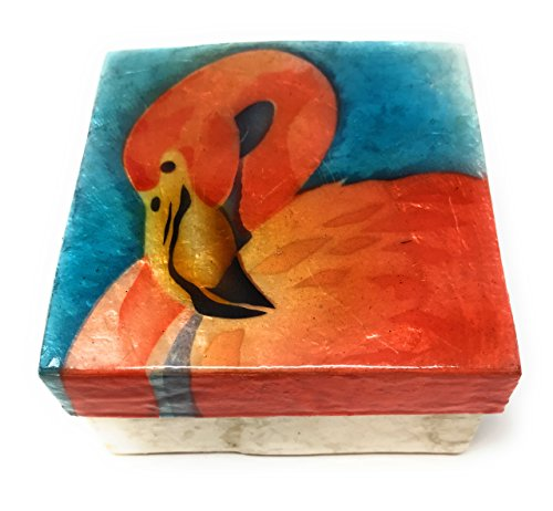 Kubla Craft Flamingo Capiz Shell Keepsake Box, 3 Inches Square