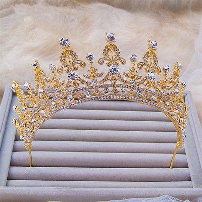 Sunshinesmile Vintage Wedding Bridal Crystal Gold Headband Crown Tiara Hair Accessories