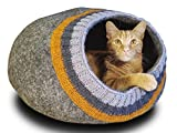 Meowfia Premium Felt Cat Cave (Large) - Eco-Friendly 100% Merino Wool Cat Bed - Soft and Comfy Beds for Large Cats and Kittens (Dark Gray Knitting)