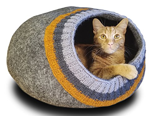 Meowfia Premium Felt Cat Cave (Large) - Eco-Friendly 100% Merino Wool Cat Bed - Soft and Comfy Beds for Large Cats and Kittens (Dark Gray/Knitting)