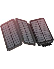 Solar Charger 24000mAh YONSIEO Solar Power Bank with Dual USB 2.1A Output Phone Chargers for Smartphones, Tablets, Outdoor Waterproof