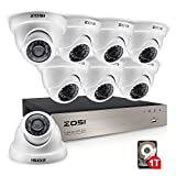 ZOSI 8-Channel HD-TVI 1080N DVR Security Surveillance System with 8 High-Resolution 720P/1280TVL Cameras and 1TB Hard Drive
