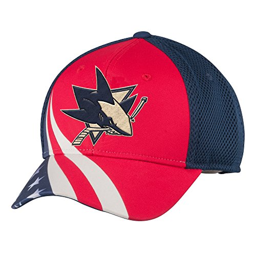 Reebok NHL San Jose Sharks Men's Patriotic Mesh-Back Structured Adjustable Cap, One Size, Red/Navy - Back Structured Cap