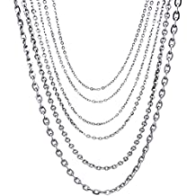 """1mm 2mm 3mm Stainless Steel Mens Womens Rolo Link Chain Necklace (14"""" - 36"""" Available)"""