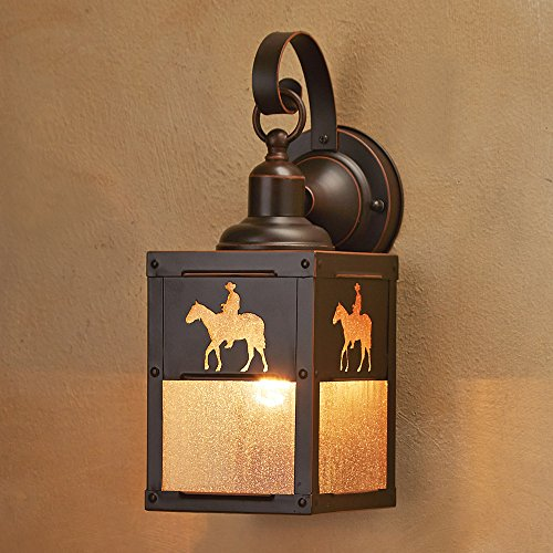 Cowboy Rider Outdoor Hanging Rustic Wall Lamp - Southwestern Decor