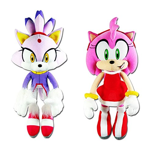 GE Animation Set of 2 Sonic the Hedgehog Blaze the Cat & Amy Rose in Red Dress Stuffed - Blaze Cat