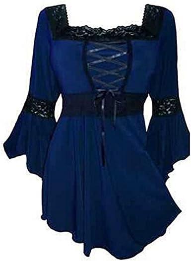 Camisa Atractiva para Mujer Camisas Informales Camisa gótica Camisa de Cuello Cuadrado Chaquetas Hoodies XL Fiesta Diaria: Amazon.es: Ropa y accesorios