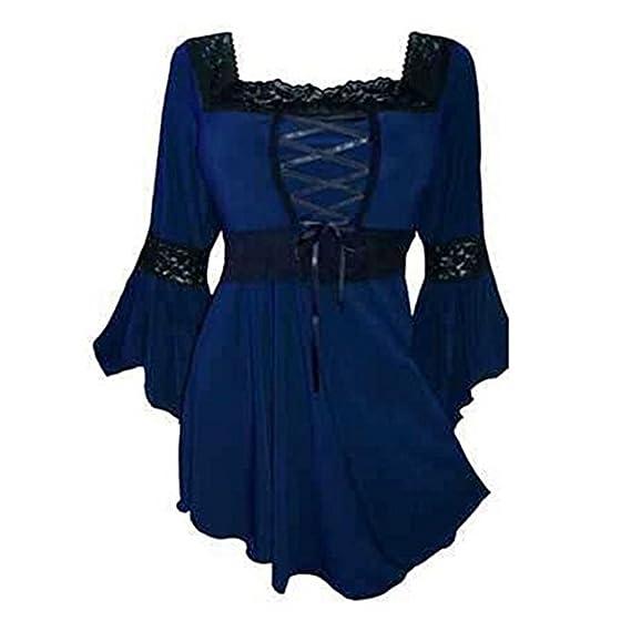 Camisas para Mujeres Sexy Gothic Womens asimétrico Cuello Cuadrado Manga Flare XL Camiseta de Fiesta Dressup