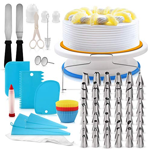 H3 Innovations - 107pcs Cake Decorating Supplies Kit | Numbered Piping Tips | Cake Turntable | Cake Turntable Stand | Cake Leveler | Cake Stand | Cupcake Decorating | Piping Bags and Tips
