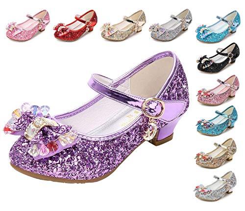 Kinkie Kids Girls Mary Jane Flats Wedding Party Shoes Glitter Sequins Uniform School Ballerina Shoes Purple 2.5 M US Little Kid