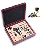 IBO VINO 9 Piece Stainless Steel Wine Accessories Set with Rosewood Box - Chrome