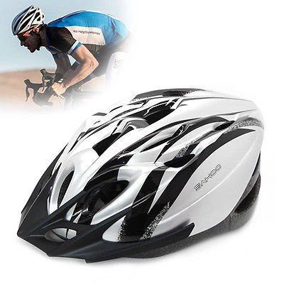 Bike Bicycle MTB Road Cycling Adult Outdoor Riding Sports Helmet W/ Visor & LED (Silver)