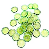 Buorsa 30PCS Mini Small Simulation Lemon Slices Plastic Fake Artificial Fruit Model Party Kitchen Wedding Home Decoration (Green)