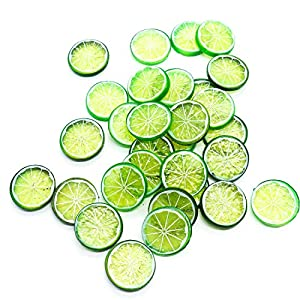 Buorsa 30PCS Mini Small Simulation Lemon Slices Plastic Fake Artificial Fruit Model Party Kitchen Wedding Home Decoration (Green) 1