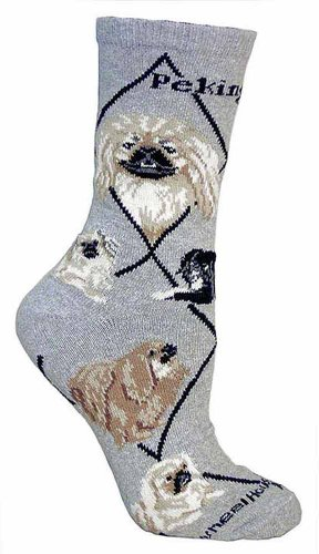 Pekingnese Animal Socks On Gray 9-11