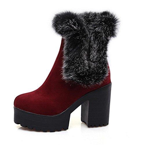 grueso heladas resistente HCuatro de nieve XIAOGANG 38 desgaste caucho botas antideslizante al Negro mujeres rojo amarillas y red temporadas H Swvqw74