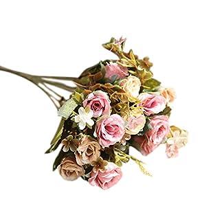 TOPMAX 2 Bunch (10 Heads) Camellia Roses Bouquet Artificial Flowers Home Wedding Garden Decoration 20
