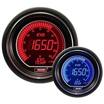"""EGT Exhaust Gas Temperature Gauge- EVO Series Red and Blue Digital 52mm (2 1/16""""): Automotive"""