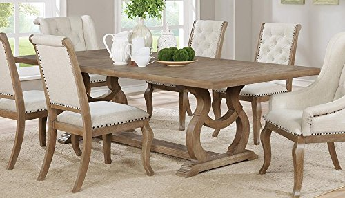 Glen Cove Dining Table with Trestle Barley Brown (Leaf Table Dining With Rustic)
