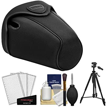 Nikon CF-DC2 Semi-Soft Holster Digital SLR Camera Case for D3300, D3400, D5500, D5600 with Tripod + Cleaning Accessory Kit