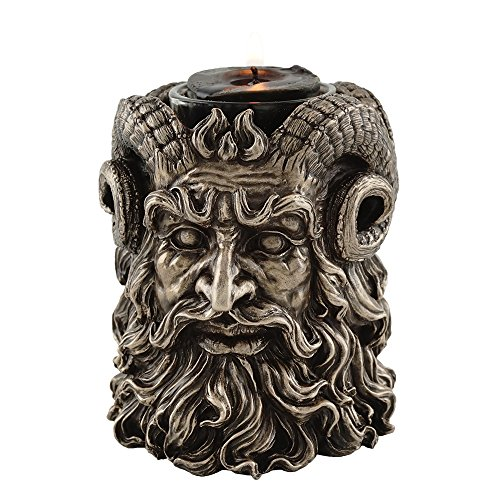 Greek God Pan Dual-Sided Tea Light Candle Holder, 4-inch Tall