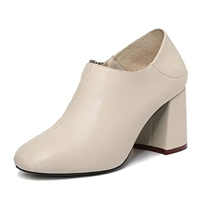 8fdbb14d935b0 Escarpins Femme Talon Épais à Haute Talon 7 CM à Enfiler Cuir Confort  Chaussure de Ville