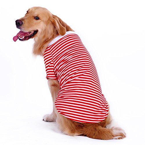 Dog Striped T-Shirt for Medium Large Dogs,Golden Retriever Shirt,Breathable Cotton Dog Vest Red Stripe L