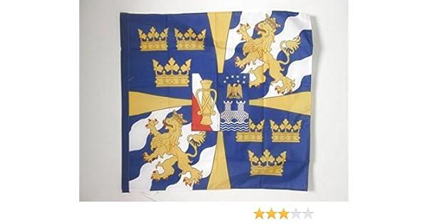 AZ FLAG Bandera del ESTANDARTE Real DE Suecia 90x90cm para Palo - Bandera Reino Sueco 90 x 90 cm: Amazon.es: Jardín