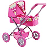 old baby stroller - iPlay, iLearn Foldable Doll Stroller with Hood, My First Doll Stroller with Basket and Canopy. Doll Pram, Lightweight Pink Baby Stroller for 2, 3, 4, 5 Year Olds Kids, Baby, Toddlers, Boys and Girls