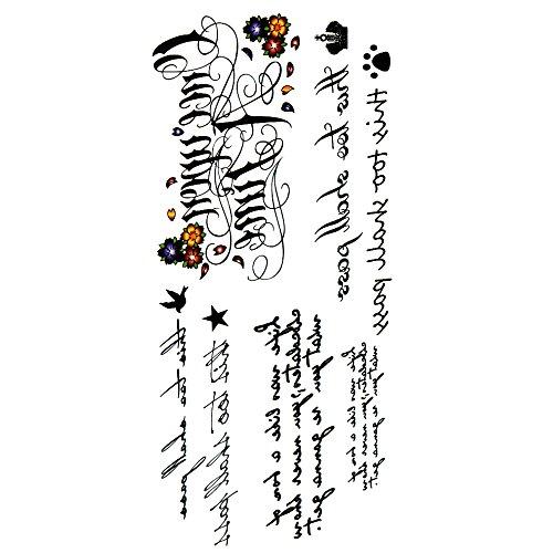 Oottati Tatouages Temporaires Agréable La Poésie Lettres Anglaise D'Amour (2 Feuilles)