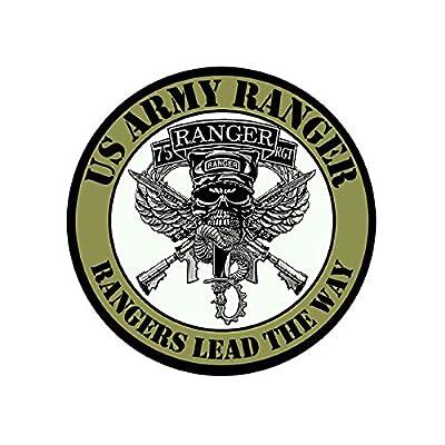 American Vinyl Round 75TH Regiment Rangers Lead The Way Sticker (Army 75 RGT Seal Insignia Batallion Logo): Automotive