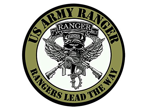- American Vinyl Round 75TH Regiment Rangers Lead The Way Sticker (Army 75 RGT Seal Insignia Batallion Logo)