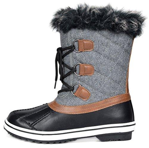 DREAM PAIRS Frauen Schweizer Mid Kalb wasserdicht Winter Snow Boots Schwarz Grau-niedrig