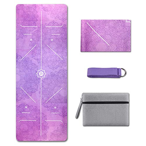KUYOU Yoga Mat Foldable 1/16 Inch Thick Non-Slip Travel Yoga Mat Cover Pad Sweat Absorbent and Soft Lightweight Exercise Workout Mat with 98 Inch Stretch Band Straps for Yoga Pilates and Fitness