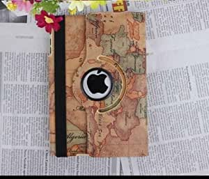 "Euroge Tech Premium 360 Degree Rotating Stand Case Cover for iPad Mini 7.85"" inches World Map1"