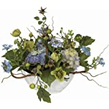 Nearly Natural 4622-BL Hydrangea Decorative Centerpiece, Blue