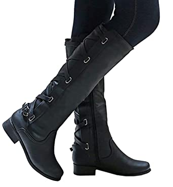 f62b57fc629 Image Unavailable. Image not available for. Color  Hestenve Womens Lace Up  Strappy Knee High Motorcycle Riding Low Heel Winter Leather Chunky Combat  Boots