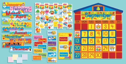 Scholastic SC939405 All-In-One Schoolhouse Calendar Bulletin Board (Bulletin Set Board Schoolhouse)