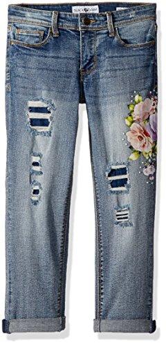 Black Daisy Girls' Big' Tween Best Friend Relaxed Skinny Jean, Audition Destruction/Floral Print, 16 ()